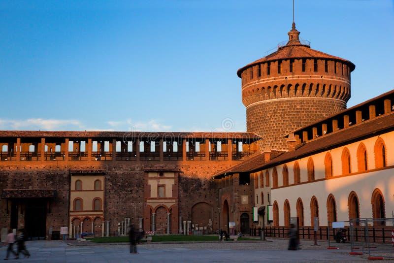 Castello Sforzesco i Milan, Italien arkivfoton