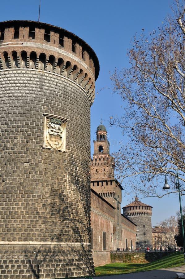 Castello sforzesco, milano. Main prospect of famous castle in city center, shot in bright winter light stock photo