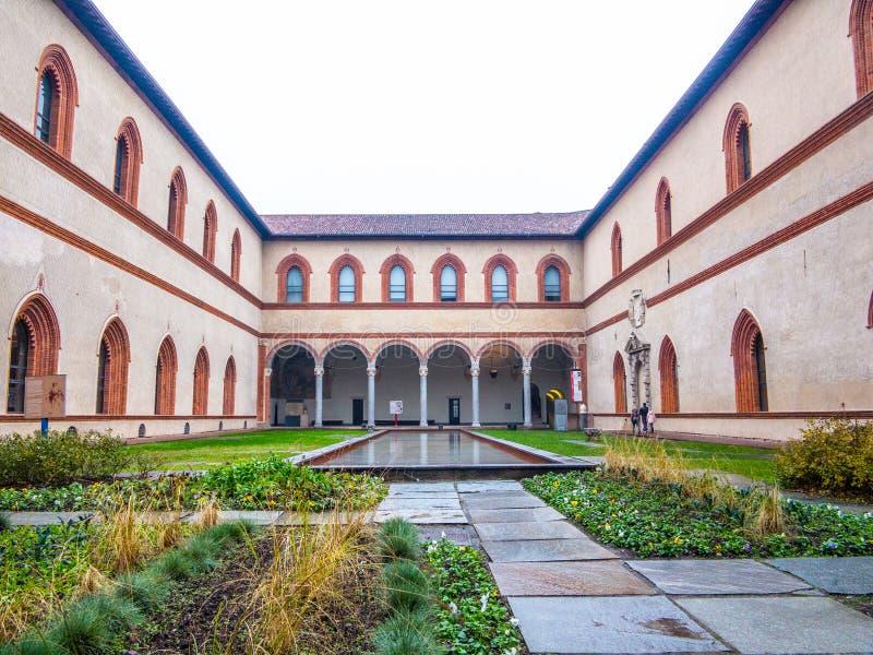 Castello Sforzesco, Sforza Castel, Milão imagem de stock
