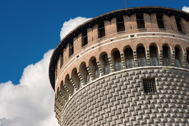 Castello Sforzesco - Sforza Castle in Milan Italy. Sforza Castle in Milan, Lombardy, Italy XV century Castello Sforzesco, the Tower of Holy Spirit Torrione di royalty free stock photos