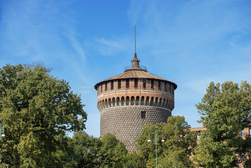 Castello Sforzesco - Sforza Castle in Milan Italy. Sforza Castle in Milan, Lombardy, Italy XV century Castello Sforzesco, the Tower of Holy Spirit Torrione di stock image