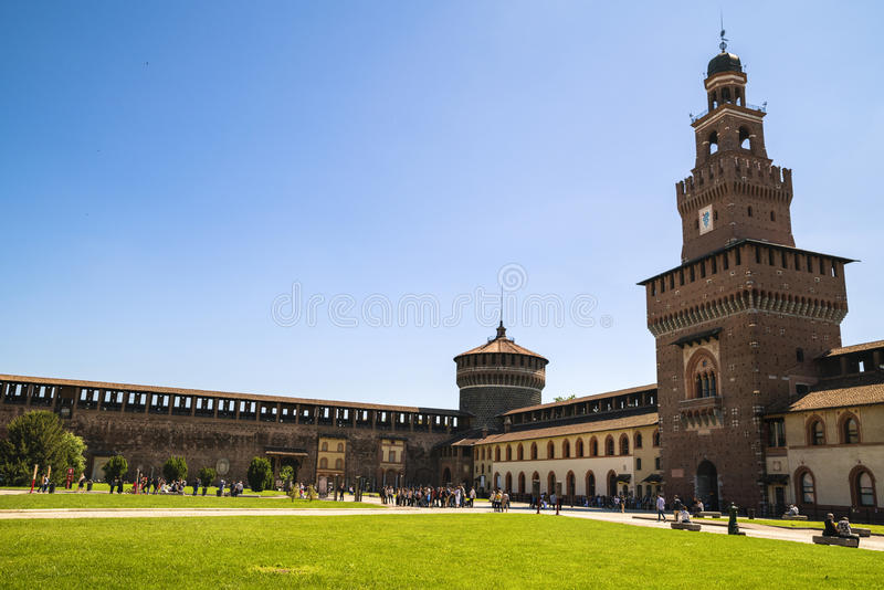 Castello Sforzesco Sforza slott i Milan, Lombardy, Italien, 13 arkivbild