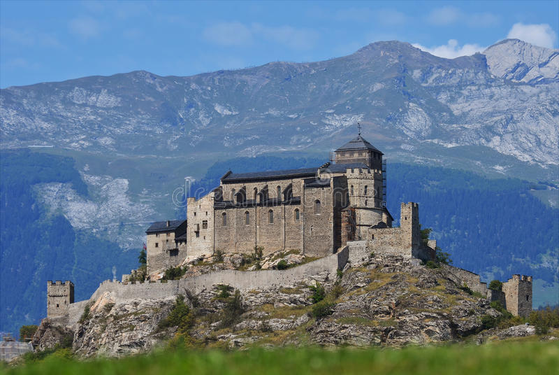 Castello in Sion, Svizzera di Valere immagine stock libera da diritti