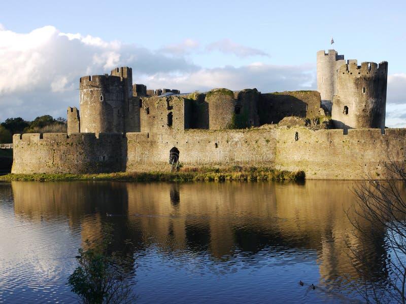 Castello storico di Lingua gallese di Caerphilly fotografia stock libera da diritti