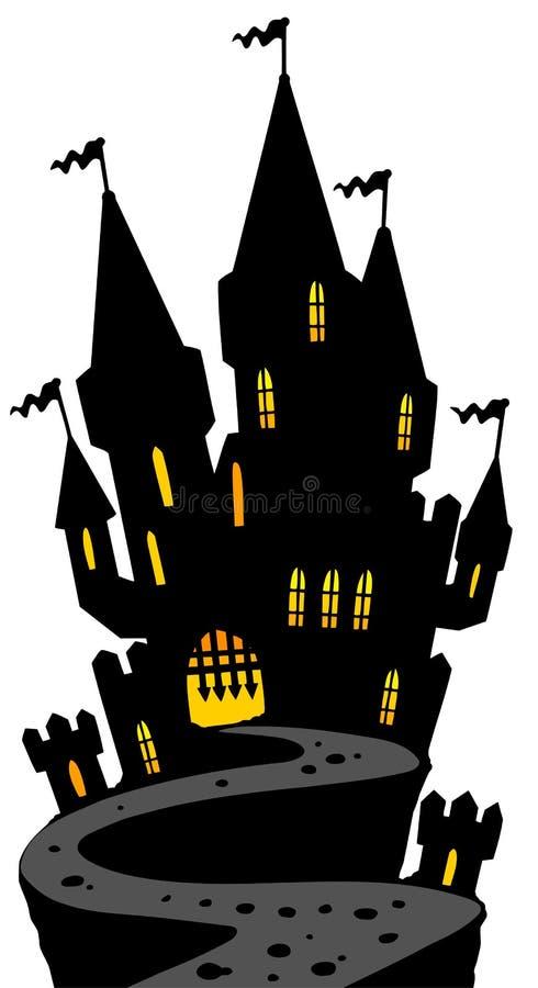 Castello sulla siluetta della collina illustrazione di stock