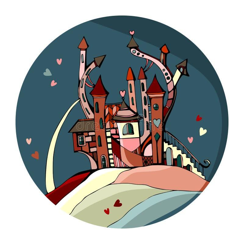 Castello sveglio per il giorno di biglietti di S. Valentino Bella carta del cerchio con il fatato illustrazione vettoriale