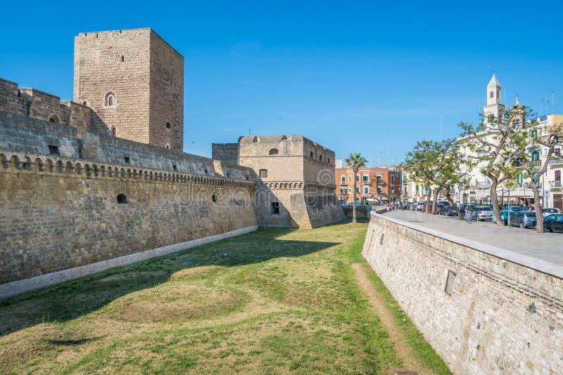 Castello Svevo德国的兹瓦本地方城堡在巴里,普利亚,南意大利 图库摄影