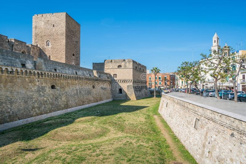 Castello Svevo Swabian slott i Bari, Apulia, sydliga Italien arkivbild
