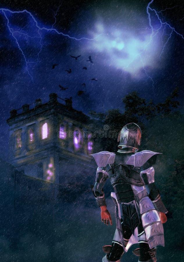 Castello terrificante e cavaliere di notte illustrazione vettoriale
