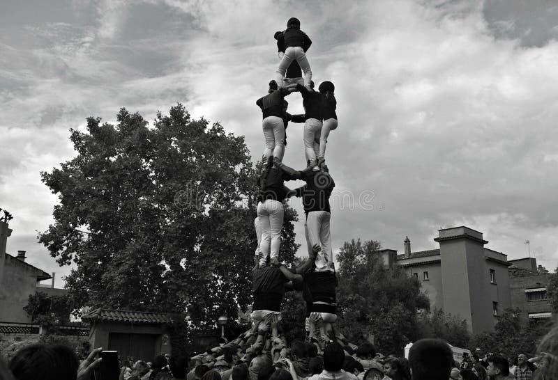 Castello umano in un festival tradizionale in Catalogna immagine stock