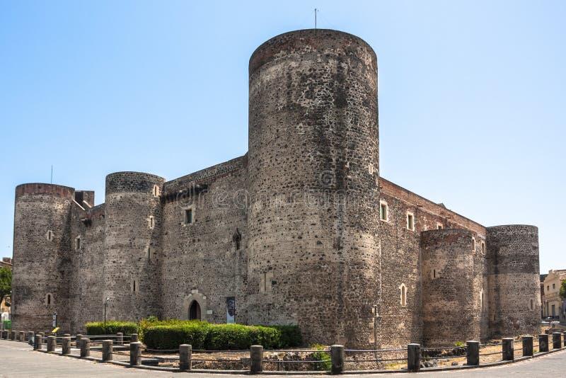 Castello Ursino在卡塔尼亚,西西里岛,南意大利 免版税图库摄影