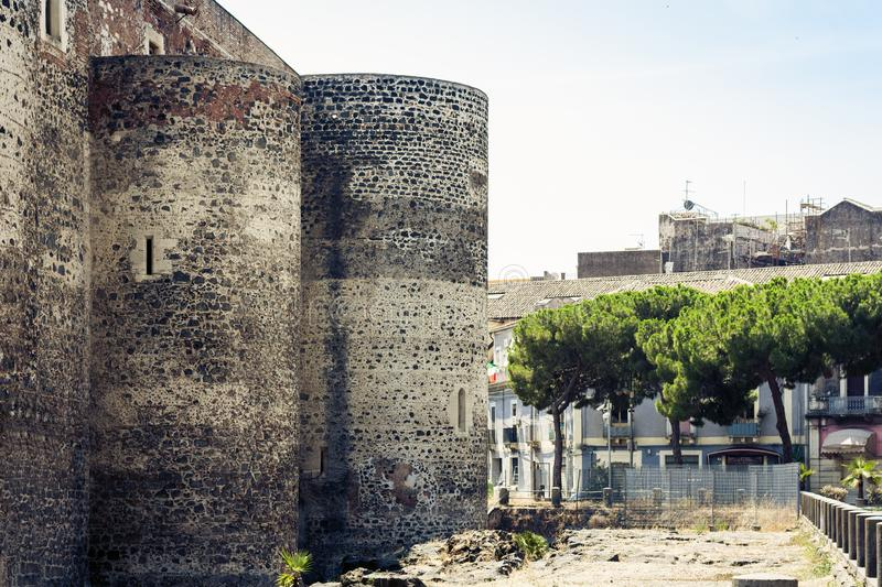 Castello Ursino – ancient castle in Catania, Sicily, Southern Italy.  royalty free stock image