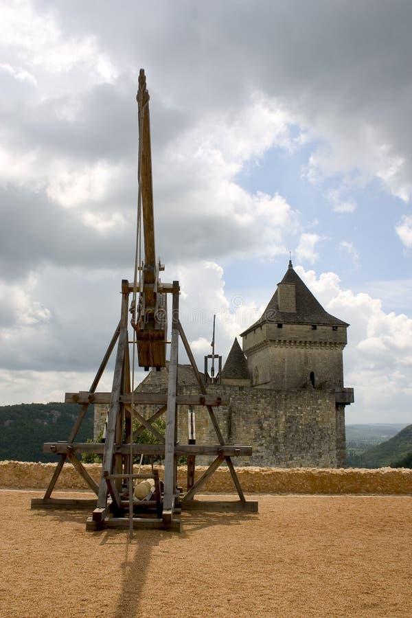 castelnaud法国trebuchet 免版税库存图片