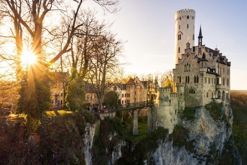 Castelo Alemanha Baden-Wuerttemberg Swabian A de Schloss Lichtenstein imagens de stock