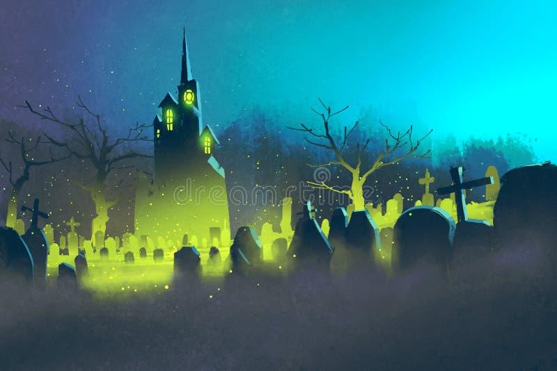 Castelo assustador, conceito de Dia das Bruxas, cemitério na noite ilustração do vetor