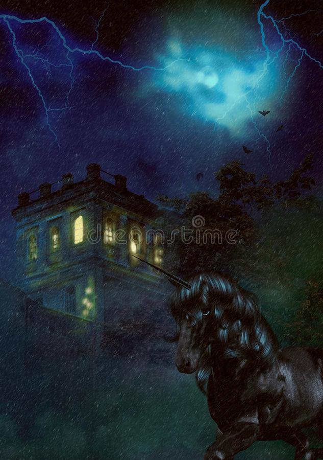 Castelo assustador e unicórnio da noite ilustração do vetor