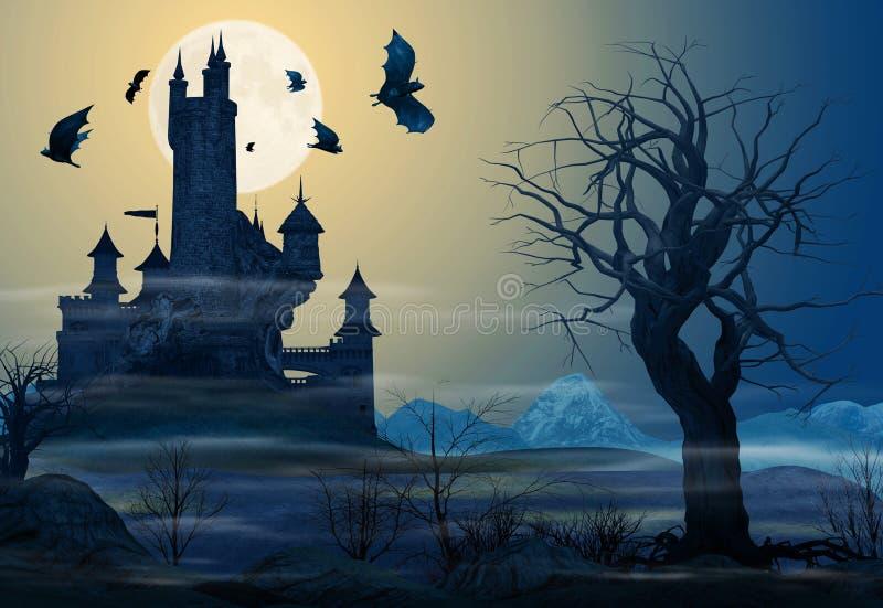 Castelo assustador iluminado contra uma Lua cheia ilustração do vetor