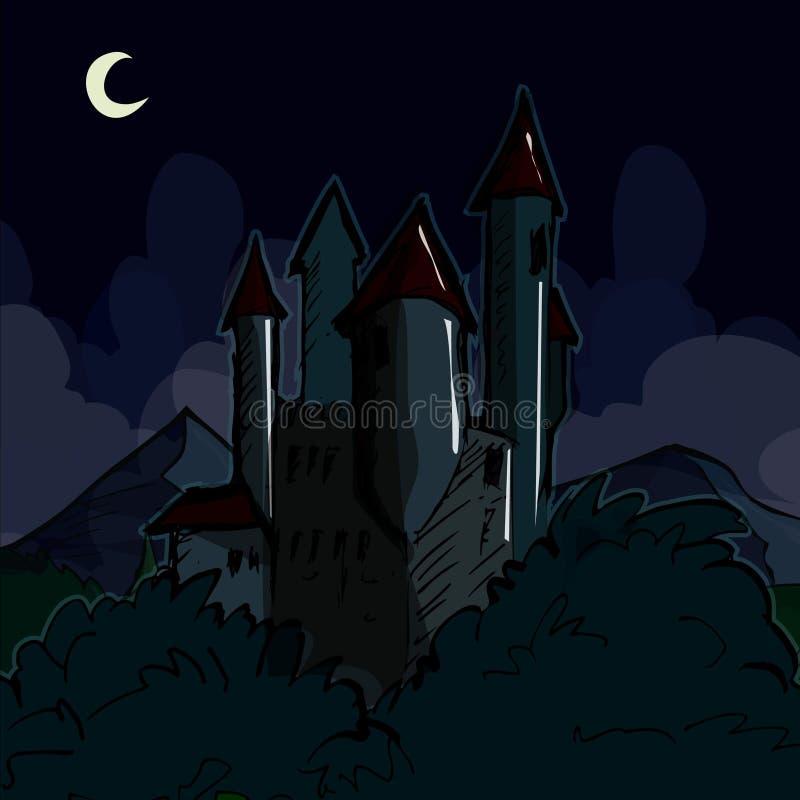 Castelo assustador na noite ilustração do vetor