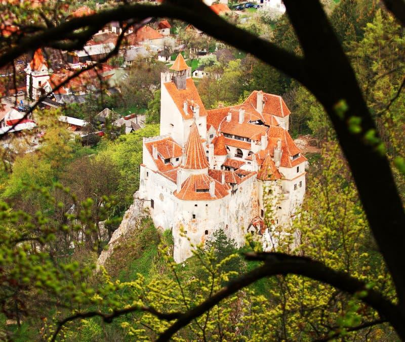 Castelo através das árvores fotografia de stock