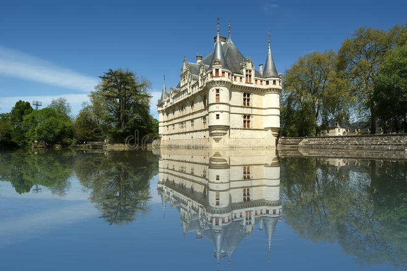 Castelo Azay-le-Rideau, Loire, Fra imagens de stock royalty free