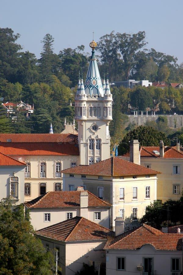 Castelo barroco da torre no sintra imagem de stock