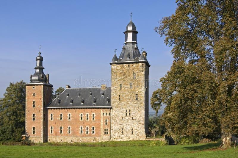 Castelo Beusdael da água, Bélgica fotografia de stock