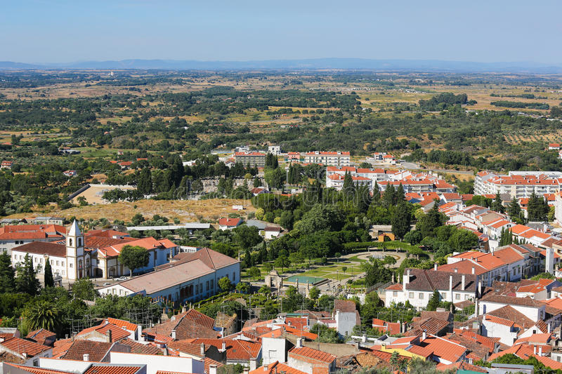 Castelo Branco, Centro region, Portugal. View from the Templars Castle on the famous Convent and church of Graca in Castelo Branco, a city in the Centro region royalty free stock image