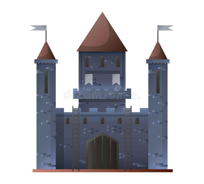 Castelo cinzento antigo isolado no projeto liso Ilustração do vetor ilustração royalty free