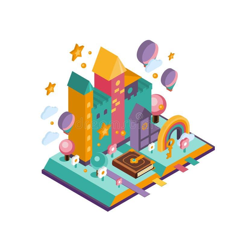 Castelo colorido Ilustração isométrica ilustração do vetor