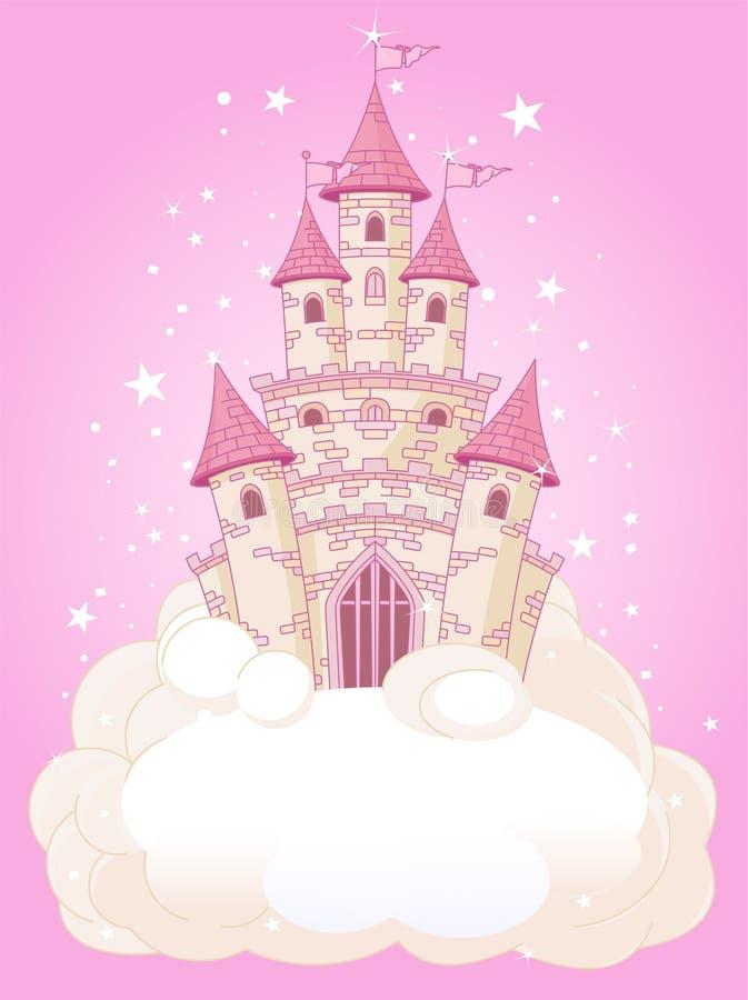Castelo cor-de-rosa do céu ilustração stock