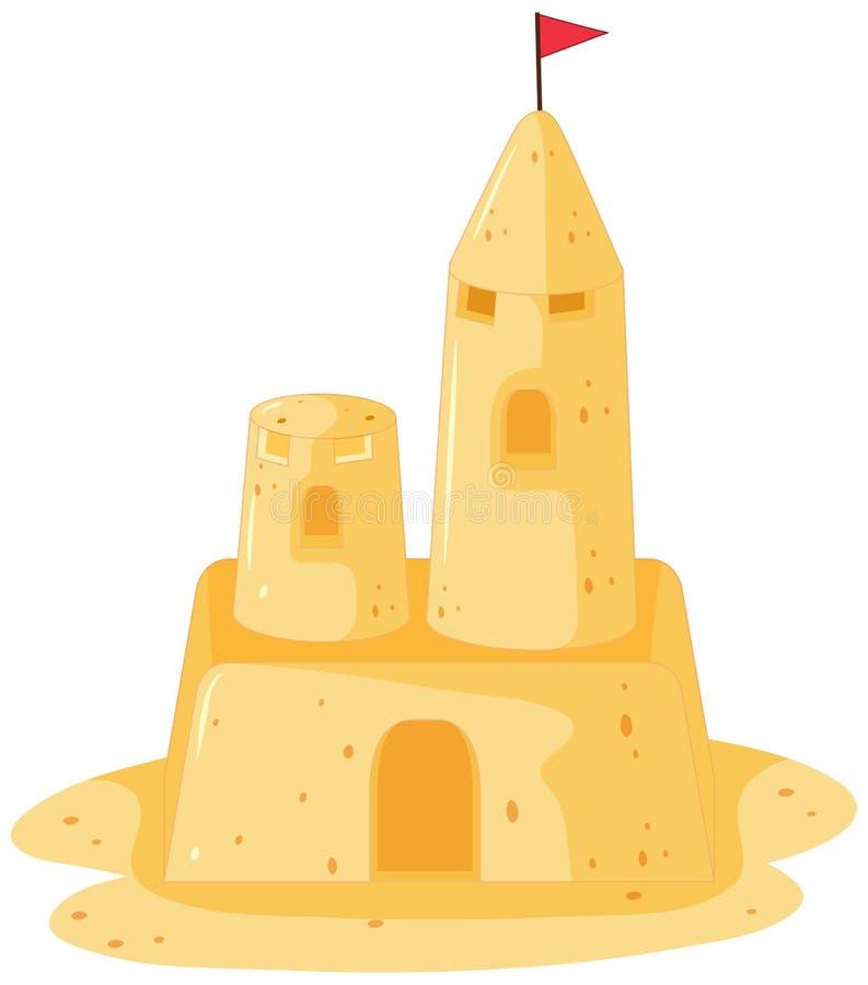 Castelo da areia com bandeira ilustração royalty free