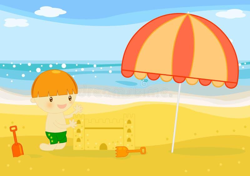 Castelo da areia dos builts do menino na praia ilustração stock