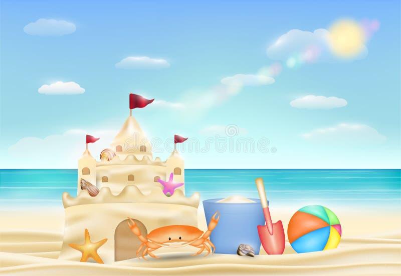 Castelo da areia em uma praia da areia do mar ilustração do vetor