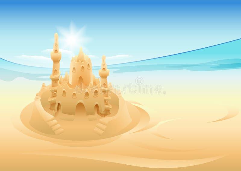 Castelo da areia Férias de verão no mar ilustração stock