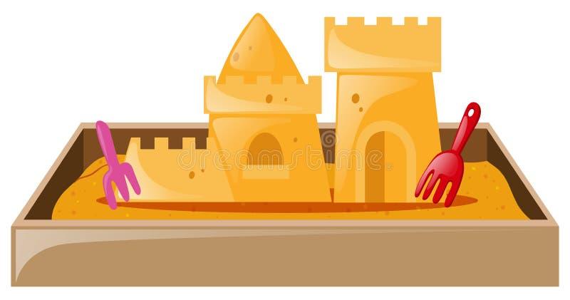 Castelo da areia na caixa de areia ilustração stock