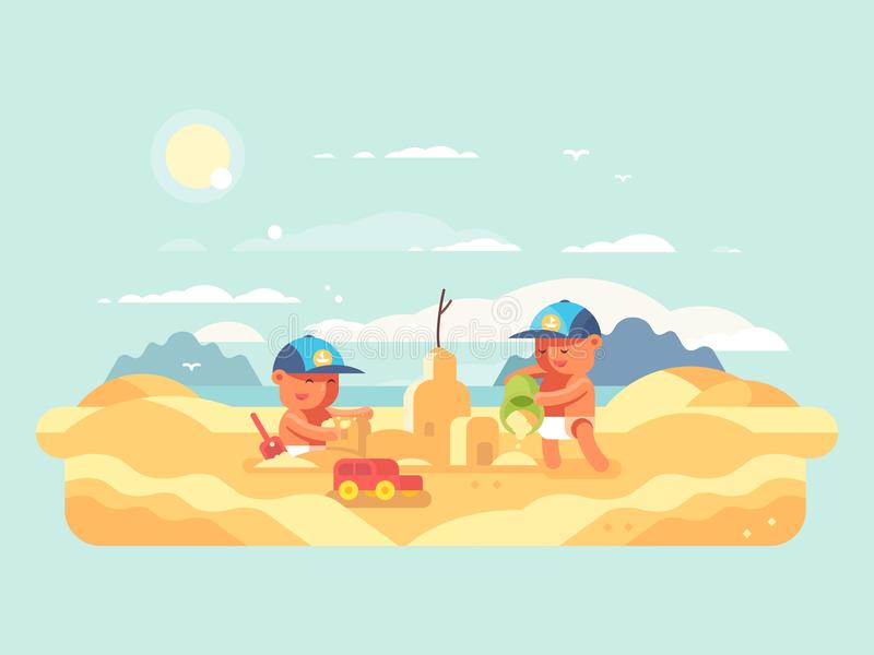 Castelo da areia na praia ilustração stock
