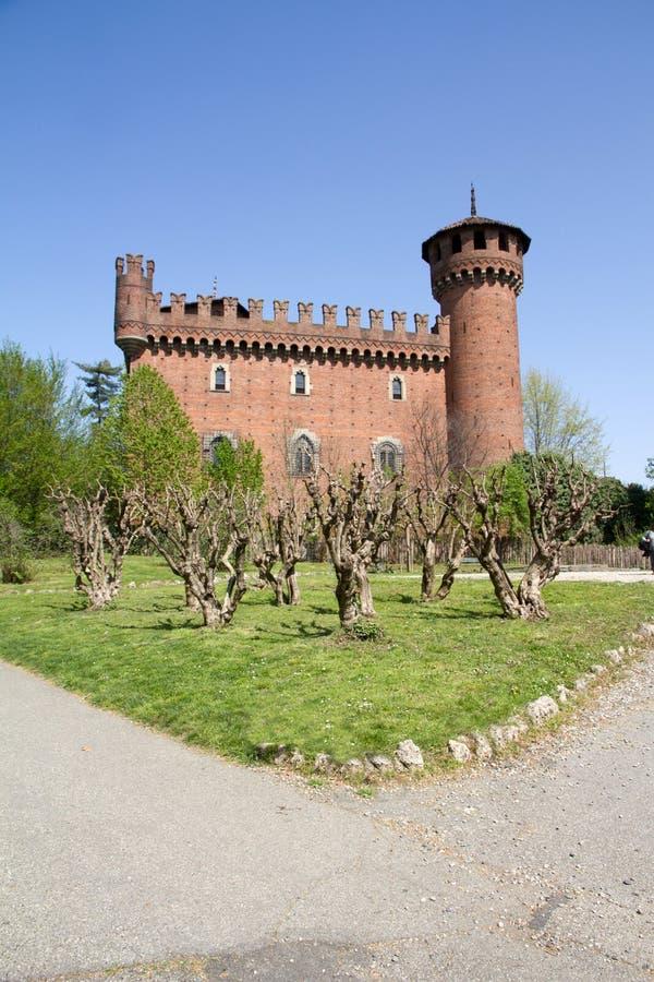 Castelo da cidade medieval, Turin, Itália fotos de stock