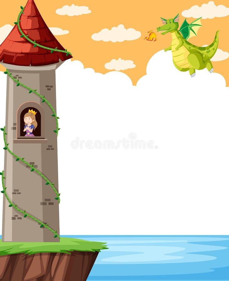Castelo da fantasia com princesa ilustração do vetor