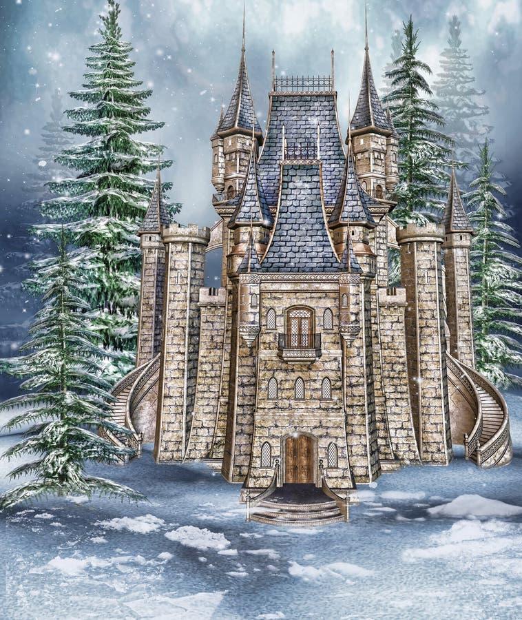 Castelo da fantasia nas madeiras ilustração stock