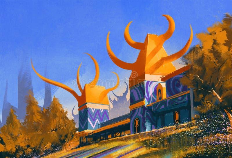 Castelo da fantasia, pintura digital da ilustração ilustração stock