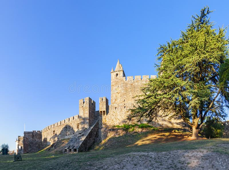 Castelo da Feira Castle with the casemate bunker emerging from the walls. And the keep. Santa Maria da Feira, Portugal stock photography
