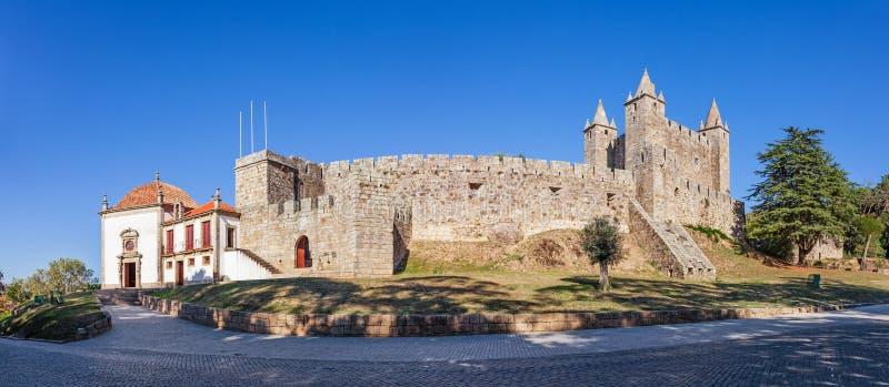 Castelo da Feira Castle with Nossa Senhora da Esperanca Chapel. On the left. Santa Maria da Feira, Portugal royalty free stock images
