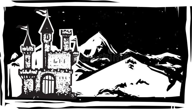 Castelo da montanha do bloco xilográfico ilustração royalty free