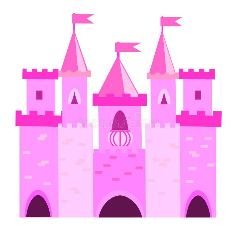 Castelo da princesa do conto de fadas com torretas Palácio cor-de-rosa Ilustração do vetor para crianças, crianças ilustração do vetor