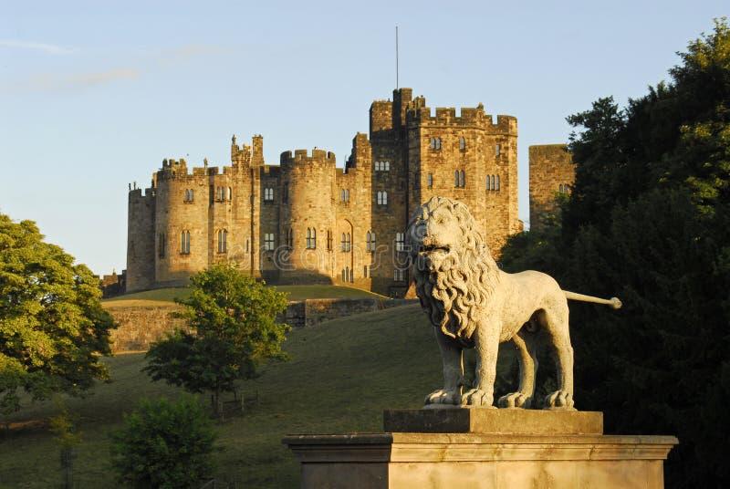 Castelo de Alnwick e os leões B fotografia de stock