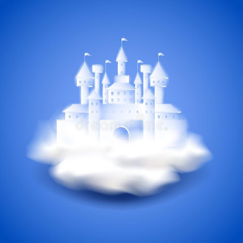 Castelo de ar no fundo azul do vetor ilustração do vetor
