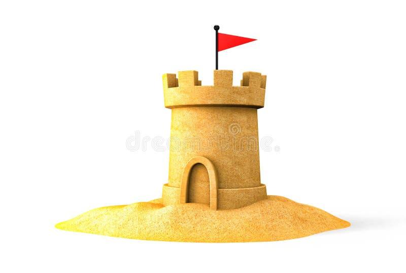 Castelo de areia no beira-mar ilustração royalty free