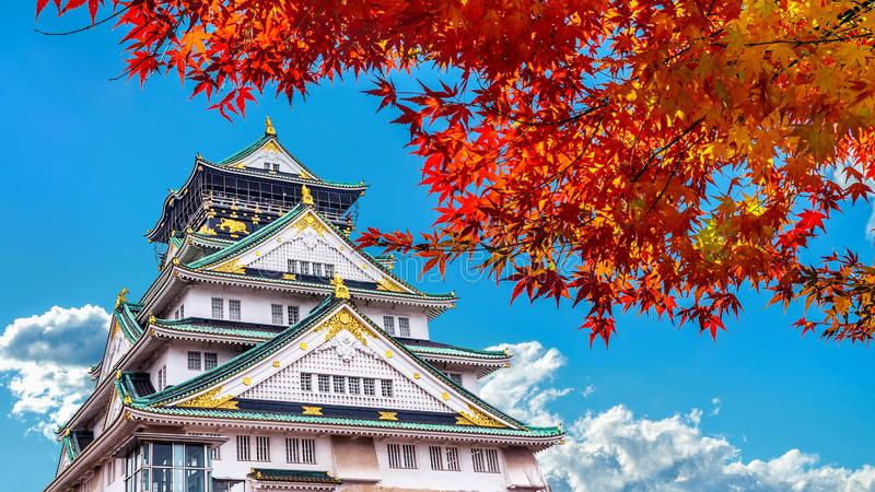 Castelo de Autumn Season e de Osaka em Japão imagens de stock royalty free
