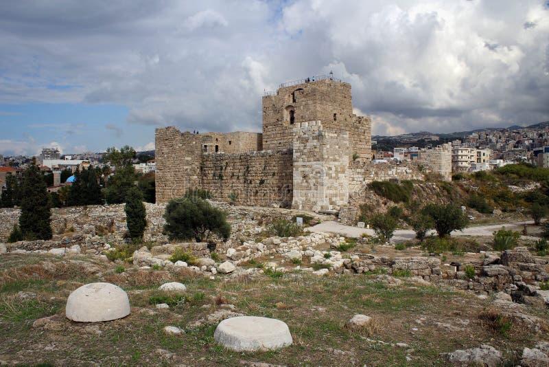 Castelo de Byblos, costa mediterrânea dos cruzados, Líbano foto de stock