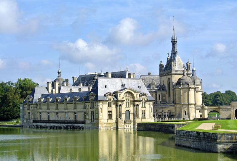 Castelo de Chantilly, França foto de stock